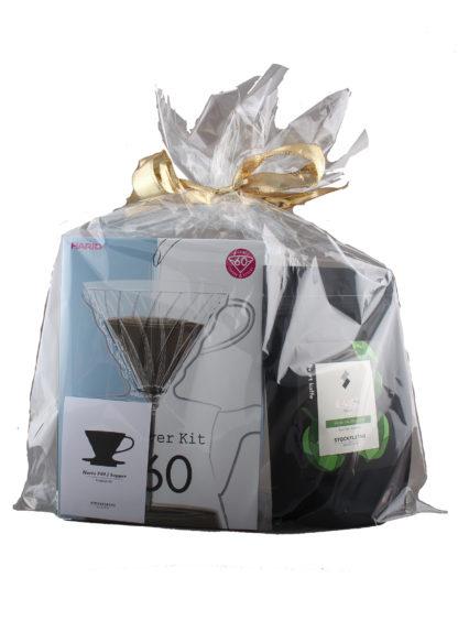Bilde av gavepose med håndbryggesett og kaffepose